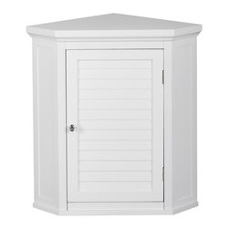 Elegant Home Fashions - Slone Corner Wall Cabinet with 1 Shutter Door - The Slone Corner Wall Cabinet from Elegant Home Fashions in white has an elegant crown molded top with a decorative louvered door that adds ample storage with style to your bathroom. The decorative louvered doors keep your toiletries hidden.  It is also very functional with one adjustable interior shelf.  It also features chrome finished knobs for easy opening.  This cabinet comes with assembly hardware.