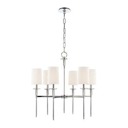 Hudson Valley Lighting - Amherst Chandelier - Amherst chandelier features off-white faux silk shades and a polished nickel finish. Available in a 6 or 8 light option as well as a wall sconce version. 6-light is 25 inch diameter x 25.5 inches high and requires ��six 60 watt 120 volt B10 candelabra base incandescent lamps not included. ��8-light is 32 inch diameter x 27 inches high and requires eight 60 watt 120 volt B10 candelabra base incandescent lamps not included. ��6-light includes a 54 inch chain and is height adjustable from 30 to 82 inches. ��8-light includes a 58 inch chain and is height adjustable from 32 to 84 inches.