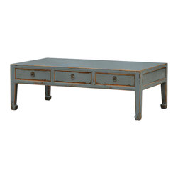Four Hands - Coffee Table 6 Drawer - In tribute to an antique Chinese design, this coffee table will make a unique and useful addition to your home. Crafted from reclaimed pine, it's distressed and hand-painted with a crackle finish and layers of lacquer for a genuinely aged effect.