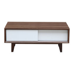 Kardiel - Kardiel Porter Modern Coffee Table /Media TV Cabinet, Walnut Wood - Each side of Porter opens and conceals by simply sliding one of more of the 4 panel doors to the left or right. You can afford to display just one stunning decor piece on the coffee table.  Living minimalist is easy with the ability tastefully store a variety of items such as magazines & books that would normally end up as clutter on top of the coffee table. With 4 modernism design splayed legs and an overall rectangle shape Porter is function and aesthetics in one neat package.  The real Walnut wood veneer and solid Walnut wood legs are finished to a beautiful, natural luster.