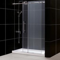 DreamLine - DreamLine Enigma-X Frameless Sliding Shower Door and 30x60 Shower Base - This DreamLine kit pairs the ENIGMA-X sliding shower door with a coordinating SlimLine shower base for a winning combination.