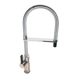 Maestrobath - Flambe Round Brushed Nickel Luxury Faucet - This luxury single handle kitchen faucet with turning spout and pull out mono shower is a beautiful focal point in any kitchen. The high end Italian faucet can accommodate any type of kitchen sink. The contemporary faucet is easy to install, keep clean and maintain. Modern brushed nickel faucet is also available in chrome finish. Whether your decorating style is traditional or modern, Maestrobath products will compliment your home improvement project and add a lavish, luxurious feel while protecting your health, safety and the environment. Please note the item picture belongs to a Chrome finish. Here is more information related to MaestroBath: Services Provided: Luxury Handmade Italian Vessel Sinks, Modern and Contemporary Kitchen and Bath Fixtures. Business Description: Maestrobath delivers contemporary and modern handmade Italian bathroom sinks and designer faucets to clients with taste of luxury. It carries a wide selection of beautiful and unique Travertine, Crystal and Glass vessel sinks in variety of colors and styles. Maestrobath services homeowners and designers globally.