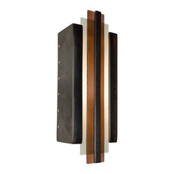 A19 Lighting - Empire Modern Wall Sconce Gunmetal and Rosewood - The Sleek And Studious Lines Of This Art Deco Inspired Piece Add A Touch Of Modern Opulence To Any Space. The Rectangular Ceramic Base Frames Two Panes Of Layered Art Glass And Is Topped With A Ceramic Strip At The Very Center. Light Washes The Wall Through The Open Top And Bottom In Addition To Circular Perforations Along The Back Edge Of Both Sides Creating A Radiant Effect. The Glaze Finishes Enhance The Piece Further With A Richness And Unique Depth Of Color.Height:18Width:6.5Depth:4.5Mounting Center:9Bulb Type:60 Watt Candelabra E12 BaseNumber Of Bulbs:1American-Made, Energy Efficient, Low-Voltage Mini Pendant.Made From Re-Claimed Window Glass.Open On Both Ends Washing The Wall With Both Up And Down LightResistant To Rust And Corrosion.Due To The Handmade Nature Of A19 Products, It Is Not Unreasonable To Expect Slight Differences From Item To Item.