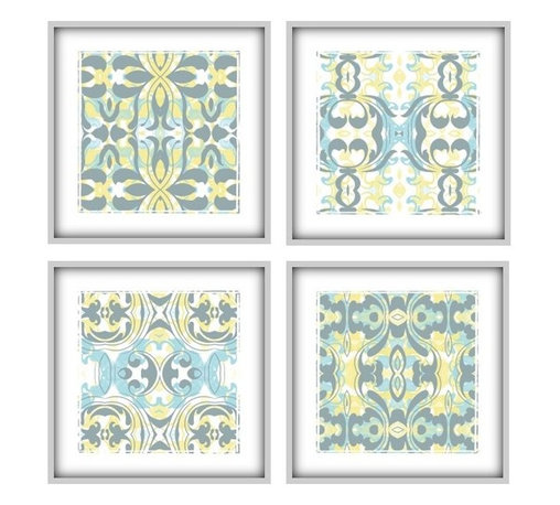 Studio D&K - Light Blue And Yellow Large Art Arrangement Set of 4 Prints, 12x12 - Set of Four 12x12 Abstract Art Prints in Various Shades of Blue, Yellow, and Grey