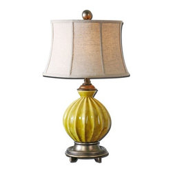 Uttermost - Uttermost 27491 Pratella Lamp - Uttermost 27491 Matthew Williams Pratella LampRibbed ceramic base finished in a distressed burnt yellow glaze with antiqued silver details. The round semi bell shade is an oatmeal linen fabric with natural slubbing.Features: