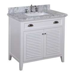 Kitchen Bath Collection - Savannah 36-in Bath Vanity (Carrara/White) - This bathroom vanity set by Kitchen Bath Collection includes a white cabinet with self-closing doors, stunning Carrara marble countertop with double-thick beveled edges,undermount ceramic sink, pop-up drain, and P-trap. Order now and we will include the pictured three-hole faucet and a matching backsplash as a free gift! All vanities come fully assembled by the manufacturer, with countertop & sink pre-installed.