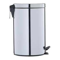 Organize It All - Round Step-On Trash Can in Stainless Steel (3.125 Gal/11.83L) - 12.5 Quart Step-On Trash can is coated in stainless steel with black accents. Sturdy, easy to use pedal lifts the lid in order to keep trash sealed up tightly. Check out more trash cans from Organize It All. Removable plastic liner with handle. Capacity: 3.125 Gal / 11.83l. 9.75 in. W x 9.75 in. D x 15.75 in. H