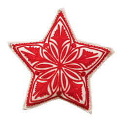 The Sandor Collection - Star Tree Topper - Bring Hungarian craftsmanship and culture to your home this holiday season with a traditional Hungarian designed Star Tree Topper. Place  this beautiful handcrafted gem on the top of  your tree this year and for many years to come by simply pulling the star's pocket over the top of the tree! The Star Tree Topper is a great way to keep traditions alive! This Tree Topper is approximately 11 inches wide. The Star Tree Topper is made using the traditional Hungarian hand-cut reverse felt applique technique.