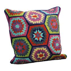 Millie Embroidered Pillow - You'll appreciate the beautiful hand craftsmanship of this crewelwork pillow. A throwback to hand-quilted bed coverings of another time, a few of these tossed on a neutral-colored bedspread sofa are sure to brighten your room.