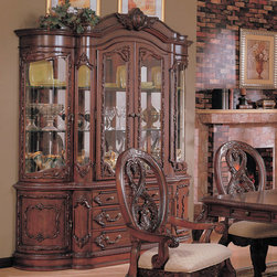 Coaster - Nottingham Collection Hutch & Buffet (China) in Cherry - This collection of elaborate carvings and careful detail brings forth the kind of beauty reserved only for the master dinning room. China cabinet features touch lighting. Made of birch solids and veneers.