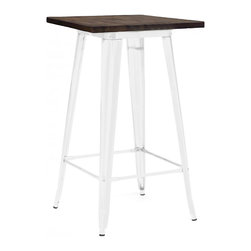 """Design Lab MN - Tolix Style Glossy White + Elm Wood Steel Top Bar Table 42"""" - As seen in many bistros across France, the Tolix style bar table is a classic piece used for generations. Come in clear gunmetal, white, rustic matte with wood top and white with wood top."""