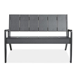 Harbor Sofa - This outdoor sofa looks like a traditional plank bench but is made of recycled plastic. I like the clean lines and the idea of the durability/eco-friendly materials.
