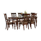 Standard Furniture - Standard Furniture Woodmont 8-Piece Leg Dining Room Set with Arm Chairs - Woodmont Features graceful and soft shaping in a clean urban style. Striking lattice accents on chair backs are perfect for today's modern home. Rich design and elegant styling invite a relaxed setting in your home.