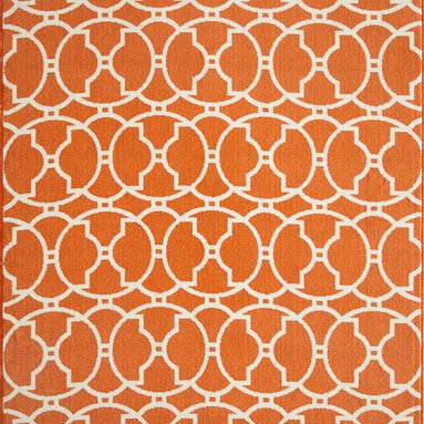 None - Moroccan Tile Orange Indoor/ Outdoor Rug (3'11 x 5'7) - Bold and exciting color patterns allow trend-conscious customers to create their ultimate indoor/outdoor oasis. This rug offers simple graphic patterns with a refreshing twist of runway fashion and lively color palettes.