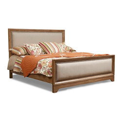 Klaussner Furniture - Bayboro Panel Bed, Queen - With design influenced by shaker and country style, Bayboro panel bed boasts light and semi-transparent golden Driftwood finish with a grain of the acacia veneers. Acacia veneers feature inherent natural character markings such as pin knows, color variation, and bees-wing cross-fire figure. The head and foot boards are upholstered in fabric with nail head trim.