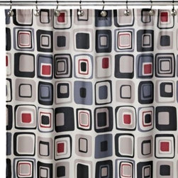 M.style Llc Div Jeffery Fabrics Inc - Blocks 70-Inch W x 72-Inch L Fabric Shower Curtain - Shower curtain features sharp, bold colors in a modern geometric design. An easy way to add style to your decor, shower curtain will be a welcomed addition to any bathroom.