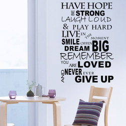 ColorfulHall Co., LTD - Wall Decor Stickers Have Hope Be Strong Laugh Loud Play Hard - Wall Decor Stickers Have Hope Be Strong Laugh Loud Play Hard