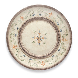 Arte Italica - Medici Round Platter - Round out your serveware with this ceramic platter. Finished with uneven edges for old-world charm, it features a hand-painted motif of vines and fleur-de-lis in saturated hues of green, blue and orange.