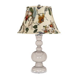 "Color Plus - Contemporary Pediment Gray Botanical Shade Apothecary Table Lamp - Pediment gray glass table lamp. Gray botanical print bell shade. Lucite base. Maximum 150 watt or equivalent bulb (not included). On/off switch. 30"" high. Shade is 10"" across the top 17"" across the bottom 11"" on the slant.   Pediment gray glass table lamp.  Gray botanical print bell shade.  Lucite base.  Maximum 150 watt or equivalent bulb (not included).  On/off switch.  30"" high.  Shade is 10"" across the top 17"" across the bottom 11"" on the slant."