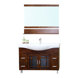 Bellaterra Home - 48 Inch Single Sink Vanity-Wood-Walnut - Add a unique contemporary flare to your home's decor with this mission style design sink chest vanity. The medium walnut finish is refreshing and will surely add to your home's ambiance. Solid oak with semi close finish to ensure water proof surface against bathroom humidity. Dimension: 48 x 18.9 x 34.8