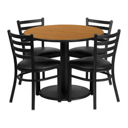"Flash Furniture - 36'' Round Natural Table Set with 4 Ladder Back Chairs - Black Vinyl Seat - 36"" Round Natural Laminate Table Set with 4 Ladder Back Metal Chairs - Black Vinyl Seat. Round Table and Metal Restaurant Chair Set; Set Includes 4 Chairs, Round Table Top and Round Base; Metal Restaurant Chair; Ladder Style Back; Black Vinyl Upholstered Seat; 2.5"" Thick 1.4 Density Foam Padded Seat; CA117 Fire Retardant Foam; 18 Gauge Steel Frame; Welded Joint Assembly; Curved Support Bar; Black Powder Coated Frame Finish; Plastic Floor Glides; Lightweight Design; Designed for Commercial Use; Suitable for Home Use; Overall Size: 16.5""W x 17""D x 32.25""H; Seat Size: 16.75""W x 16.5""D x 19.5""H; Back Size: 15""W x 12""H; Restaurant/Banquet Table Top; 1.125"" Thick Round Top; High Impact Melamine Core; Overall dimensions: 36""W x 36""D x 30""H"