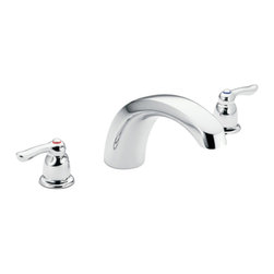 """Moen - Moen T990 Chrome Roman Tub Trim 8""""-16"""" Two Lever Handles, ADA - Moen T990 is part of the Chateau bath collection. Moen T990 has a Chrome finish. Moen T990 is a Roman Tub Trim. Roman Tub faucet is a deck-mount, 3-hole 8"""" - 16"""" installation with 5"""" high and 9"""" long low-arc spout for conventional styling, and a full 4 1/2"""" from deck to aerator. Moen T990 Roman Tub Trim fits the MPact common valve system and requires Moen's 9992 or 9993 valve to make this faucet complete. Valve sold separately. Moen T990 is approved by ADA. Chrome is a proven finish from Moen and provides style and durability. Moen T990 metal lever handle meets all requirements of ADA CSA B-125, ASME A112.18.1M. Lifetime Limited Warranty and 5 Year commercial"""