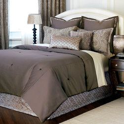 "Frontgate - Galbraith Comforter - Super Queen, Hand Tacked - From Eastern Accents. Button-tufted and hand-tacked comforters have two layers of decorative fabric with polyester batting secured inside to prevent shifting. Super Queen: 96"" x 98"".Super King: 114"" x 98"".. Dry clean only recommended. Because this bedding is specially made to order, please allow 4-6 weeks for delivery. The Galbraith Bedding Collection is an elegant, monochromatic ensemble. A pleated velvet fabric gives the collection metallic sheen and texture. Beaded trimming and tassels enhance the collection's urban appeal. .  . Super Queen: 96"" x 98"". Super King: 114"" x 98""..  . . Made in Italy. Coordinates with the Galbraith Bedding Collection."