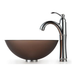 Kraus - Frosted Brown 14 in. Glass Vessel Sink and Rive - Finish: Oil Rubbed Bronze