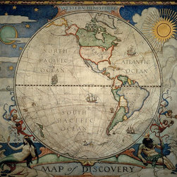Magic Murals - Wyeth's Western Hemisphere World Map Wallpaper Wall Mural - Self-Adhesive - Mult - Wyeth's Western Hemisphere World Map Wall Mural