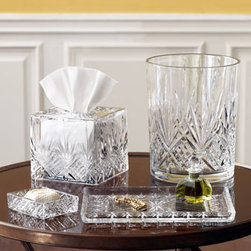 "Horchow - Tissue Cover - Cut-crystal vanity accessories lend elegance to a dressing table or bathroom counter. Wastebasket, 8""Dia. x 10""T. Tissue cover, 6.25""Sq. x 6""- 6.25""T. Soap dish, 4.5""L x 3.5""W. Large tray, 11.5""L x 8""W. Imported."