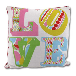 Manual - Colorful Reversible Love and Polka Dot Throw Pillow 18 In. - All you need is... this pillow It adds a cheerful accent to any room, and it is reversible so it will take twice as long to get tired of it (if you ever do) The pillow measures 18 inches by 18 inches and features colorful letters spelling 'LOVE' on the front, with a coordinating polka dot print on the back. It is 100% polyester, from the cover to the soft stuffing, and is proudly made in the U.S.A. Recommended care instructions are to spot clean or dry clean, only.