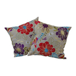 "Best Selling Home Decor - 18"" Embroidered Flowers Pillows (Set of 2) - Give your home an update with this attractive pillow set. These pillows feature a linen blend cover for soft elegance. Set includes: Two pillows; Pattern: Emroidered Flower; Color options: Green, Purple, Red, Beige, Blue; Cover closure: Hidden zipper closure; Edging: Knife edge; Pillow shape: Square; Dimensions: 18 inches wide x 18 inches long; Cover: Linen Blend; Fill: 100-percent Polyester; Care instructions: Spot clean with a damp cloth."