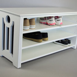 Mac Shoe or Boot Storage Bench by Woodistry - This is a well-built rack with adjustable shelves. This would be great for my taller boots.