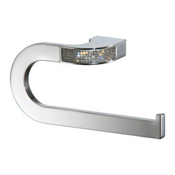 Manillons - Carmen Small Towel Ring Holder, Swarovski Crystal - Add some sparkle to your personal space. This gleaming, streamlined towel hook, imported from Spain, gets an extra dose of dazzle from an inlay of genuine Swarovski crystals.
