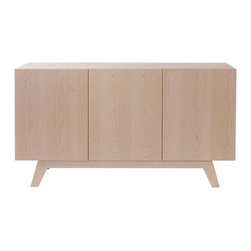 Howard Elliott - Oslo 3 Door Buffet with Shelf - Bleached Birch Veneer 3 Door Buffet with Shelf.