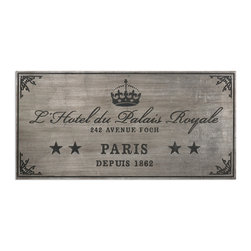 Uttermost - Palais Royale Plaque Art - If you can't stay in L'Hotel du Palais Royale at 242 Avenue Foch, then you can have the hotel stay with you. The antiqued, silver leaf finish has dusty black embossed details and looks so aged you'd swear it was made in 1862, right along with the hotel.
