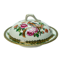 Lavish Shoestring - Consigned Luxurious Porcelain Muffin Dish & Cover in Pheasant & Roses - This is a vintage one-of-a-kind item.