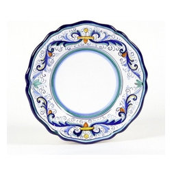 Artistica - Hand Made in Italy - VECCHIA DERUTA LITE: Salad Plate (Simple Decor - SIM) - VECCHIA DERUTA Collection: (Old Deruta) - A richer and more formal version of the renowned Ricco Deruta pattern. Featuring scalloped rim plates with a dominant royal blue trim. Both inspired by the frescoes of the master Renaissance artist Raphael.