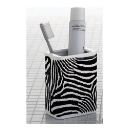 Gedy - Rectangle White Black Pottery Toothbrush Holder - Safari style square countertop toothbrush holder or tumbler with zebra design.