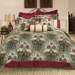 None - Coronado 3-piece Duvet Cover Set and Euro Sham Separates - Regal red accents dot a neutral ground to bring sophistication to the Coronado duvet set. Crafted with pure cotton for luxurious comfort,this gorgeous duvet and sham set can be further enhanced by Euro sham separates.