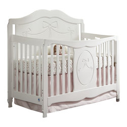 Stork Craft - Storkcraft Princess Fixed Side Convertible Crib in White - Stork Craft - Cribs - 04587151 - Inspired by the charm of fairy tales complete your baby's nursery with the Stork Craft Princess Crib.  With its heirloom scrollwork and elegant bow detailing this timeless crib will last your princess for years to come as it converts into a toddler bed and daybed.