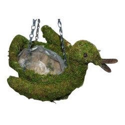 "Master Garden Products - Moss Duck Topiary Hanging Planter, 12""W x 9""H - These adorable planters will bring fun and light to your home and garden, while providing the natural element of moss as a unique way of enhancing and showcasing your favorite flowers and plants! While the containers themselves are not constructed of moss, moss liners and plastic liners are inserted to prevent soil from falling out."