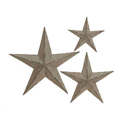 ecWorld - Deluxe Handcrafted Rustic Metal Wall Decor Stars (Set of 3) - Set of 3 Rustic Metal Wall Decor Stars - Each Handcrafted and Hand-Painted -