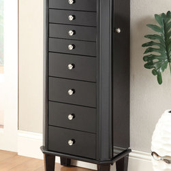 Coaster - Jewelry Armoire, Black - This modern jewelry armoire features black glass surfaces on all sides with 2 doors, 2 drawers and a flip open mirror top, all felt-lined with a black color.