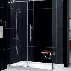 "DreamLine - DreamLine SHEN-6134600-07 Enigma-X Shower Enclosure - DreamLine Enigma-X 34 1/2"" by 60 3/8"" Fully Frameless Sliding Shower Enclosure, Clear 3/8"" Glass Shower, Brushed Stainless Steel Finish"