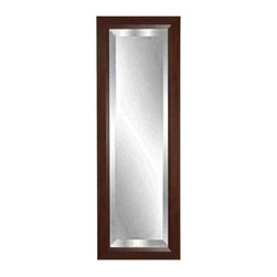 Rayne Mirrors - American Made Walnut  21.25 x 60.25 Slender Beveled Body Mirror - This inviting floor mirror appeals to many decors including rustic country to all natural modern with its sleek design. It's frame is covered with a smooth walnut finish. This stylish tall design will add personality and dimension to any room. Each Rayne mirror is hand crafted and made to order with American products.  All hardware included for vertical or horizontal hanging, or perfect to lean against a wall.