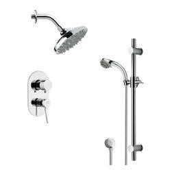 Remer - Sleek Chrome Rain Shower Faucet Set - Multi function shower faucet.