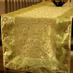"""Elegant Table Runners - Luxurious """"Dark Gold"""" Table Runner. Hand embroidered pattern from India. Dupion fabric. Perfect decor idea to embellish your room."""