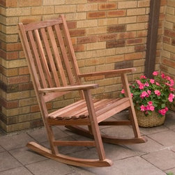 Richmond Heavy Duty Outdoor Rocking Chair with Optional Seat Cushion - Sit down and get comfy with the Richmond Heavy Duty Outdoor Rocking Chair and Seat Cushion . Solidly crafted of sustainably harvested red shorea wood (red lauan) this outdoor rocking chair is built to last. Designed to weather the elements and maintain its luster for generations of use it's supported by galvanized steel bolts and polished in a natural wood finish and nourishing linseed oil. A traditional straight back and slightly contoured seat make this rocker easy on the eyes and relaxing for the body. A perfectly fitted seat pad is available for added comfort. Additional information for optional seat cushion: Hand-crafted of durable polyester with piped edging Secured to the seat with 2 fabric ties Soft and rot-resistant fiber batting for padding Spot-clean when needed with soap and water Dimensions: 21L x 19W x 3H inches About Shorea Wood and Linseed OilShorea is possibly the best wood choice for outdoor furniture. Related to Burma teak this hardwood grows naturally and plentifully in the Pacific Rim countries. Because shorea is dense heavy and hard and contains an abundance of natural oils it is highly resistant to rot bug infestation weather and marring. Shorea (red lauan) wood will have variations is color - from a red to a yellow cast. The shorea wood for this item is treated with linseed oil. Linseed oil is not a varnish. The oil soaks into the pores of the wood leaving a shiny (not glossy) surface that shows off the grain of the wood. Linseed oil helps protects the wood from denting by compression and protects it from accelerated deterioration. After assembly simply wipe the bench with a damp cloth to remove any excess oil that may be remaining. Please note that it is recommended to let your bench sit outside for 2-3 days before sitting on it to let the stain air out and completely dry.