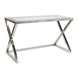 Worlds Away - Worlds Away Polished Stainless Steel Desk with Beveled Glass Top MARK N - Worlds Away Polished Stainless Steel Desk with Beveled Glass Top MARK N